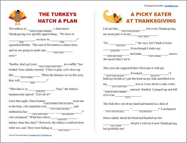 picture about Mad Libs Printable Pdf referred to as Printable Thanksgiving Crazy Libs