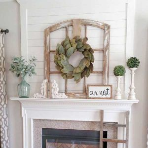 Fireplace with Window Frame on Mantel