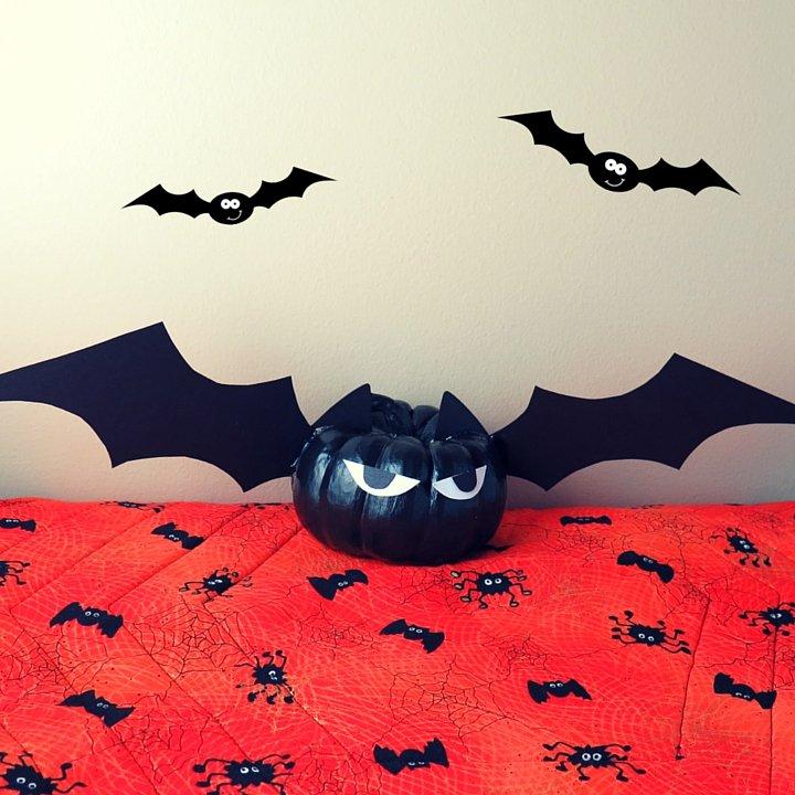 Painted Mini Pumpkin Bat