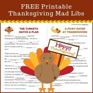 Printable Mad Libs for Thanksgiving