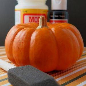 How to Paint Pumpkins: Pumpkin with Foam Brush, Mod Podge and Black Paint