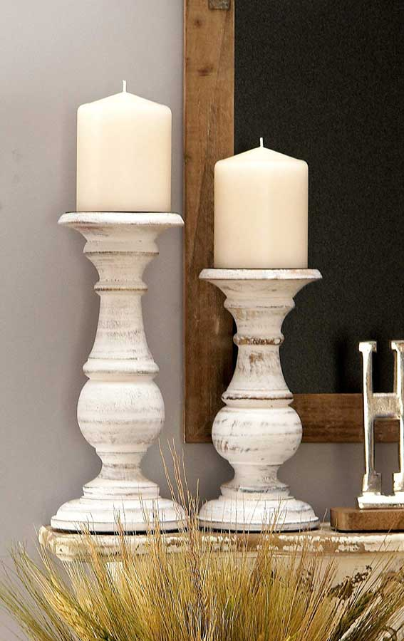 Pillar Candles on Fireplace Mantel