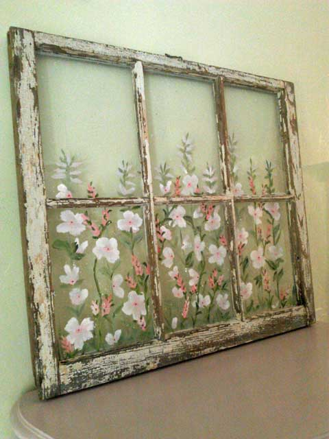 Window Frame with Handpainted Art