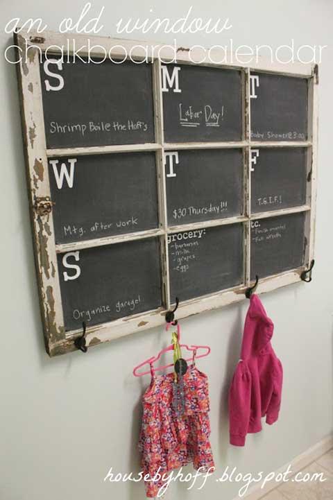 Window Frame Chalkboard Calendar