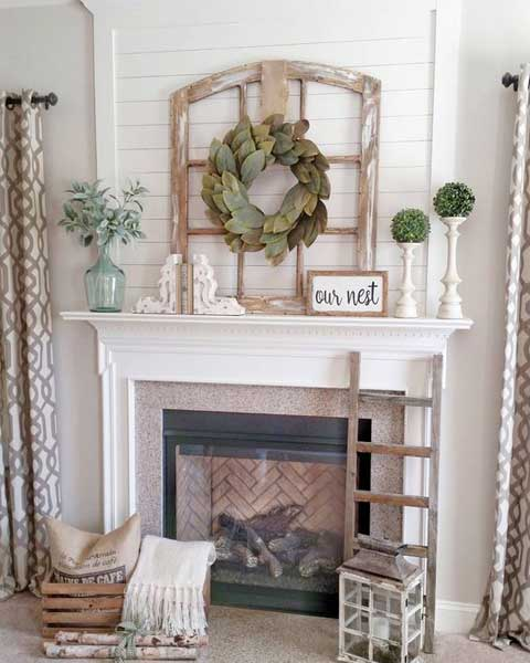 Window Frame Over Fireplace